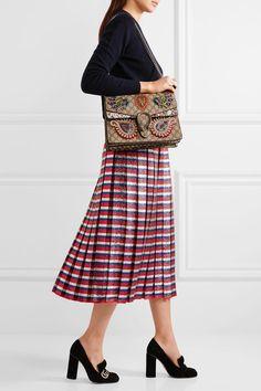 Gucci - Dionysus Medium Appliquéd Embellished Coated-canvas And Snake Shoulder Bag - Beige - one size