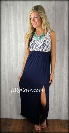 Lace top navy maxi dress - Filly Flair