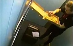 Shocking pizza delivery antics caught on camera