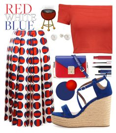"""modra rdeča bela"" by cordelia-fortuna ❤ liked on Polyvore featuring Gucci, Alice + Olivia, WithChic, Clinique, Tabitha Simmons, Maybelline, MAC Cosmetics, redwhiteandblue, fourthofjuly and redwhiteblue"