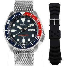 Seiko Automatic Watch w/ additional band Gents Watches, Sport Watches, Watches For Men, Seiko Automatic Watches, Seiko Watches, Stainless Steel Polish, Stainless Steel Case, Seiko Skx, Authentic Watches