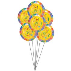 Create a nice impression and wish someone for their well-being. This 6 helium-filled balloons are made of mylar and tied together with a ribbon. Greatly expres your wishes just the way you want for their speedy recovery.