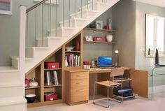 Home Organizing Ideas - Under-Stair Bookshelves and Desk