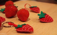 Felt applique - strawberry keychains and brooches