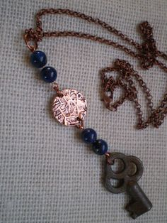 Vintage skeleton key Lapis beads copper by etceterahandcrafted $25