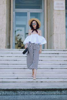 Straw hat, Dior sunglasses, white off shoulder top, zara striped culottes, furla crossbody bag, silk scarf, beige suede pumps, chic summer outfit, Andreea Birsan
