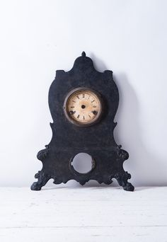 Antique Victorian Metal Clock Case - Ornate Dickensian 19th Century Cast Iron -