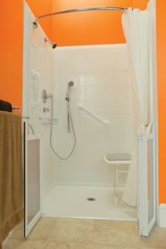Refresh Walk-in Shower | Disabled Bathing from Premier Care - Did you know the ARTHRITIS FOUNDATION  website recommends specific products that are easy to use? From pruning shears to walk-in tubs Walk In Tubs, Walk In Shower, Bathtub Shower, Bifold Shower Door, Shower Doors, Beautiful Bathrooms, Big Bathrooms, Shower Systems, Arthritis Foundation