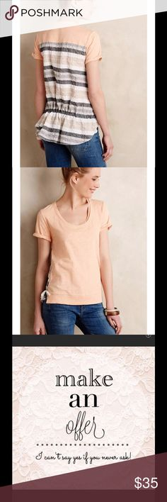 """ANTHROPOLOGIE Contrast Cinched Coral Striped Top ANTHROPOLOGIE LITTLE YELLOW BUTTON Contrast Cinched Coral Striped Top XS   Size XS  DESCRIPTION: Coral Front Contrasting Gray White Striped Back w/ Drawstring Effect Scoop Neck Light and Airy  Short Sleeve Slight High Low Hem  MEASUREMENTS/SIZE: Size: XS Bust: 34"""" Length: 23"""" - 26""""  MATERIAL: 100% Cotton Anthropologie Tops"""