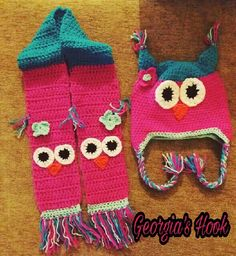 Croshet owl hat and scarf. Owl Hat, Georgia, Hats, Hat, Hipster Hat, Caps Hats