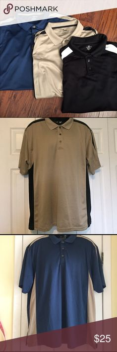 Bundle of 3 men's polo shirts Dockers and Grand Slam. All 3 are 100% polyester. Great for the golf course or work! Shirts Polos