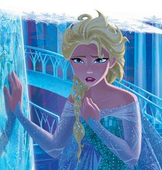 Perhaps the most beautiful of all official Disney 2D illustrations of Elsa, from A Tale of Two Sisters.