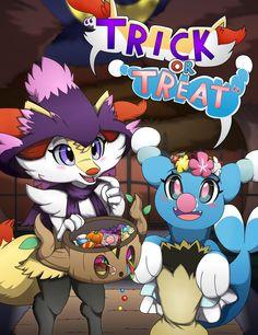 Oh well, it might be a tad late for Halloween~ But never the less, here two cu. FA-Braixen n Brionne:''Trick or Treat! Pokemon Alola, Pokemon Fan Art, Pikachu, Pokemon Stuff, Cute Pokemon Pictures, Nintendo Characters, Cyberpunk Art, Charizard, Fanart
