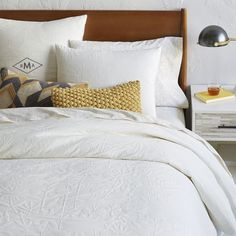 Organic Garden Matelasse Duvet Cover + Shams | west elm (look at duvet cover, ignore the pillows eg the yellow one is ugly)