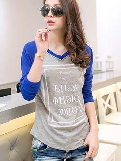 Long Sleeve  Cotton T-shirt T-shirts from fashionmia.com