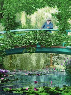 Le peintre sur le pont de son jardin