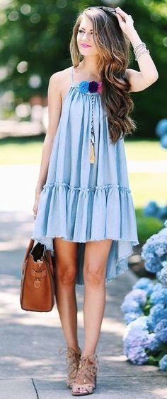 #summer #trendy #outfits |  Pom Pom Chambray Dress