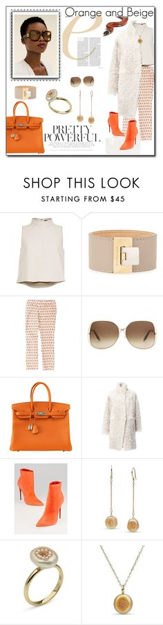 """""""Orange and Beige"""" by iv-gromova ❤ liked on Polyvore featuring Traits, TIBI, Balenciaga, Tory Burch, Victoria Beckham, Hermès, 32 Paradis Sprung Frères, Christian Louboutin, orange and beige"""