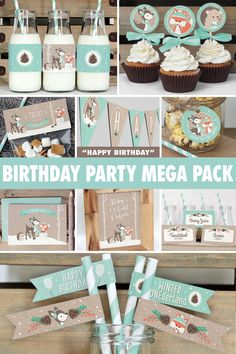 Everything you need to throw a spectacular Winter Woodland birthday party for your little one! Frosty mint colour is gender neutral- great for a sweet little boy or girl. All items are available for INSTANT DOWNLOAD immediately following purchase. Get started on your DIY party today!