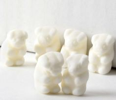 "White Gummy Bears - Vanilla $7.99 Bears have never tasted better than these chewy gummy bears. You'll relish every single one of them and still ask for more!  Approx. Dimensions: 1/2"" x 7/8"" Item Contains: Approx. 180 pcs. per lb. Product of the EU Certified Kosher Pareve under the strict supervision of OK laboratories."