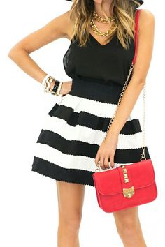 Black and White Striped Skirt - Classy !