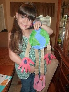 Earth person mobile with hand and foot cut-outs for Earth Day.