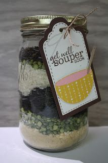 "Get Well Soup Mix in a Jar. Love the ""souper"" cute label!"