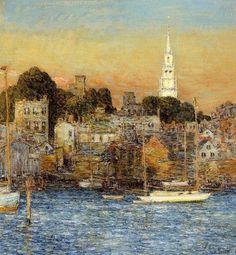 "LATE AFTERNOON ART BEFORE COCKTAILS.  ""Sundown, Newport"" Childe Hassam"