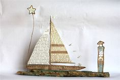 Over the Channel Driftwood Projects, Driftwood Art, Wire Crafts, Diy And Crafts, Crafty Projects, Art Projects, Deco Marine, Seaside Art, Paper Doll House
