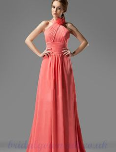 Halter Chiffon Sweep Coral Bridesmaid Dresses Designs
