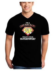 TooLoud Musician - Superpower Adult Dark V-Neck T-Shirt