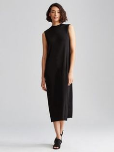 Funnel Neck Calf-Length Dress in Stretch Silk Jersey