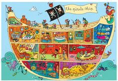 The Pirate Ship, Super Sized Floor Puzzle, by Ravensburger - PAL Award - Top Toys, Games, Books that Encourage Language Pirate Activities, Activities For Kids, The Pirates, Groups Poster, Poster Art, Hidden Pictures, Vintage Poster, Pirate Theme, Cute Illustration