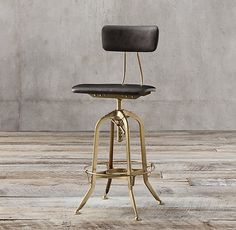 Vintage Toledo Leather Counter Stool, Restoration Hardware. Kitchen X3. Burnished brass and black leather