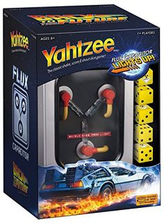 Light it up with this special Anniversary edition of YAHTZEE®: Back to the Future™ Collector's Edition. This unique YAHTZEE game features a light up version of the famous Flux Capacitor from the ever popular Back to the Future movie. Yahtzee Game, Dice Games, Arcade Games, Back To The Future Party, The Future Movie, Back To The Furture, Future Games, Bttf, Family Movie Night