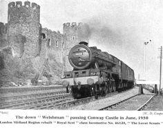 "Rebuilt 'Royal Scot' class 46128 ""The Lovat Scouts"" pulls the down 'Welshman' past Conwy Castle in June 1950 Steam Art, Train Room, Steam Railway, Train Art, British Rail, Steam Engine, Steam Locomotive, Train Tracks, Birmingham"