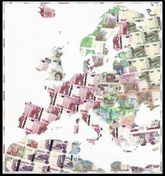 """iSense4U, Ratio Das Abstrakte Ding, der #Markt bestimmt das Geschehen und Du bist hilflos ausgeliefert. Dein Lebensraum wird vom Geld bestimmt. Deine neue Landkarte """"Euro Europe"""" von #Justine_Smith, aus der Serie #Money_Map_Prints  http://www.justinesmith.net/collage/money_maps/euro_europe"""