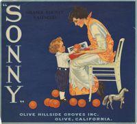 "Crate label for  ""Sonny"" Orange County Valencias, Olive Hillside Groves Inc., Olive, California"
