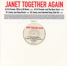 "For Sale - Janet Jackson Together Again UK Promo  12"" vinyl single (12 inch record / Maxi-single) - See this and 250,000 other rare & vintage vinyl records, singles, LPs & CDs at http://eil.com"