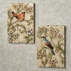 Garden Birds Wall Plaque Set Multi Pastel Set of Two