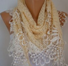 seriously, the prettiest scarf. Yellow Scarf    Headband Necklace Cowl with Lace Edge by fatwoman, $21.00