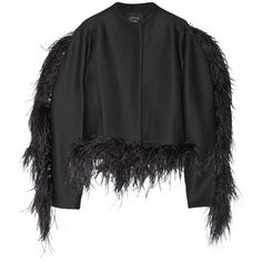 Lanvin Feather-trimmed wool-blend jersey jacket (€1.635) ❤ liked on Polyvore featuring outerwear, jackets, coats, coats & jackets, lanvin, tops, black, feather jacket, wool blend jacket and black jacket