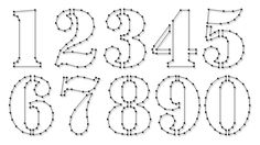 String-art pattern sheets NUMBERS STENCIL (number height 10cm) - www.spijkerpatroon.nl