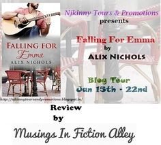 """It is the best book..."", says Musings In Fiction Alley for Falling For Emma by Alix Nichols... Read the #BookReview here: http://musingsinficitonalley.blogspot.in/2015/01/review-tour-teaser-giveaway-falling-for.html #NjkinnyTours #Romance #Novella"