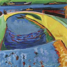 Ernst Ludwig Kirchner (German, 1880-1938), Brücke an der Prießnitzmündung [Bridge at the Mouth of the Elbe], between 1910-20. Oil on canvas, 91 x 91 cm.
