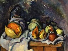 Paul Cezanne Still Life with Fruit and a Pot of Ginger Canvas Art Print – canvasartdealer Cezanne Art, Paul Cezanne Paintings, Oil Paintings, Painting Art, Fruit Bowl Drawing, Cezanne Still Life, Still Life Artists, Still Life Fruit, Post Impressionism