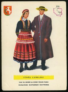Find Man and woman wearing traditional clothes of Stroj Lubelski ,Poland;Polish folk costumes in Postcards, Topicals & Categories, Ethnic/Costumes category on Playle's. European Costumes, History Tattoos, Folk Fashion, Womens Fashion, Ethnic Outfits, Folk Costume, Traditional Outfits, Women Wear, Culture