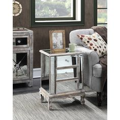 Convenience Concepts Gold Coast Mirrored 2-Drawer End Table | Overstock.com Shopping - The Best Deals on Coffee, Sofa & End Tables