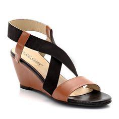 Sandalias de piel de vaqueta con tacón, 2 bandas elásticas, ancho confort