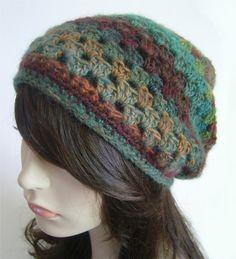 Slouchy Beanie Wool Hat Dread Hat Tam Purple Teal by LoveFuzz, $42.00
